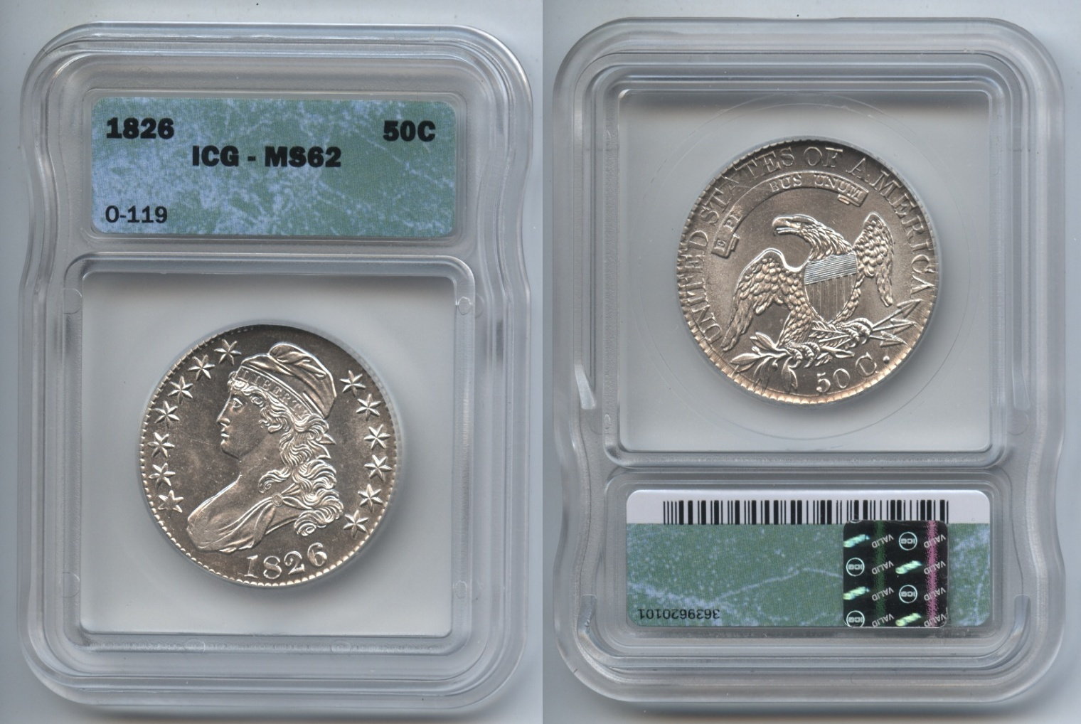 1826 Capped Bust Half Dollar ICG MS-62