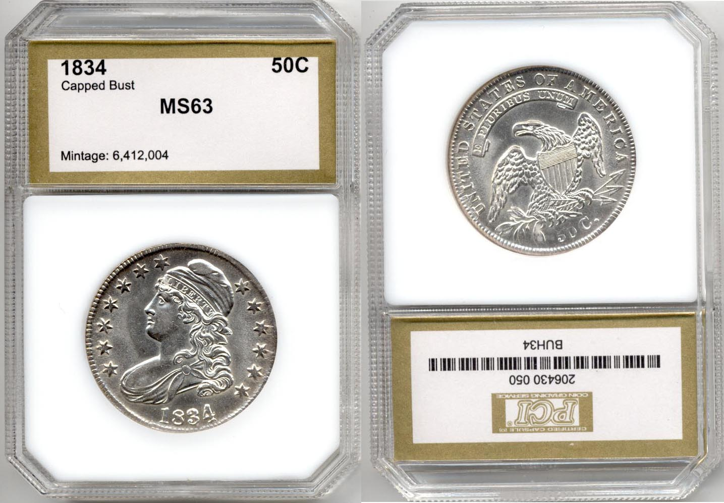 1834 Capped Bust Half Dollar PCI MS-63