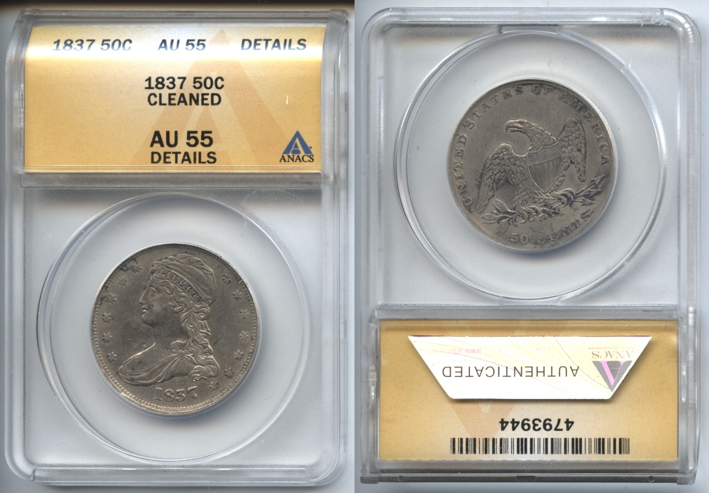 1837 Reeded Edge Capped Bust Half Dollar ANACS AU-55 Details Cleaned