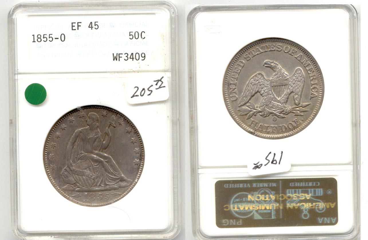 1855-O Seated Liberty Half Dollar ANACS EF-45