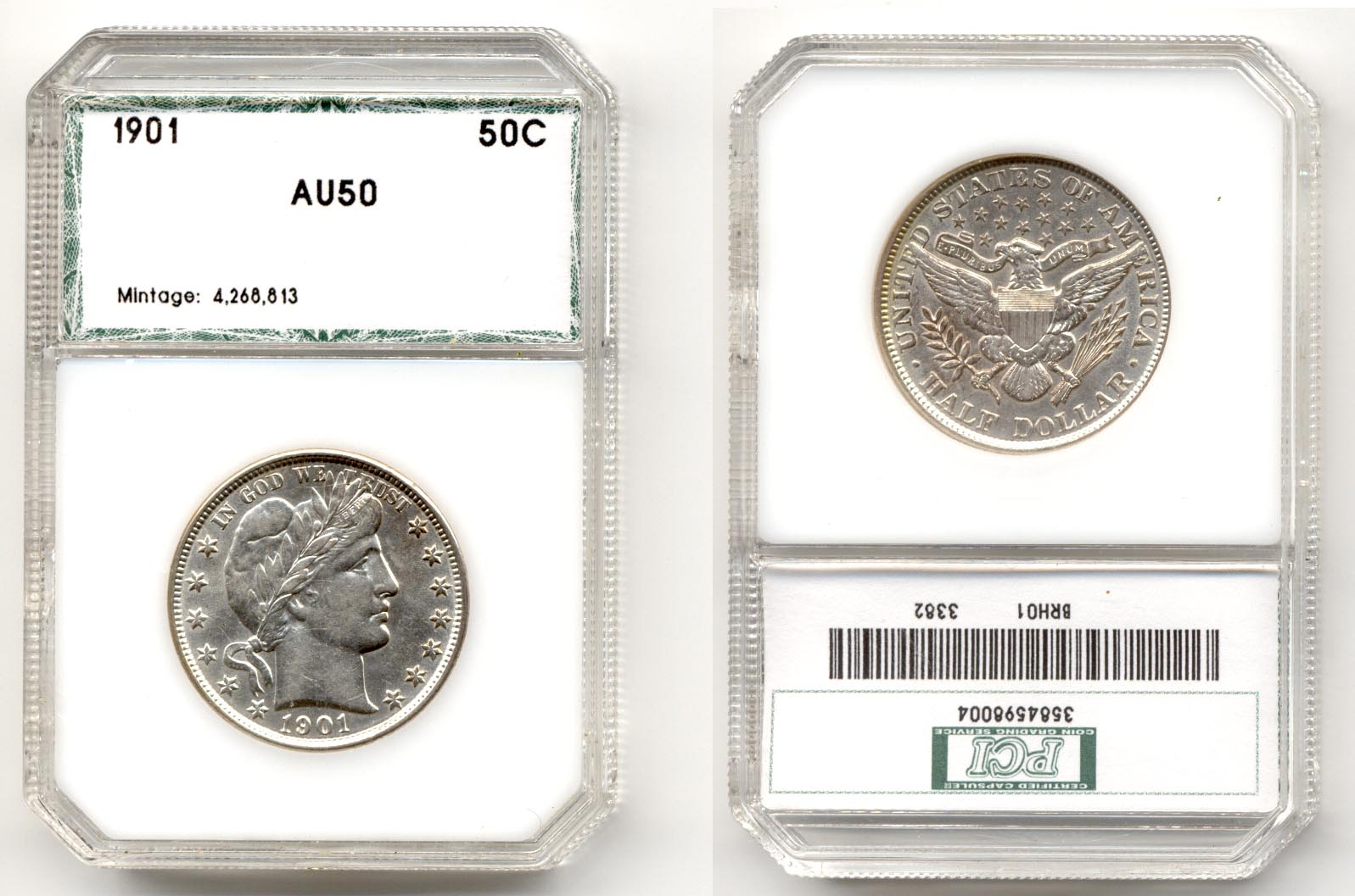 1901 Barber Half Dollar PCI AU-50