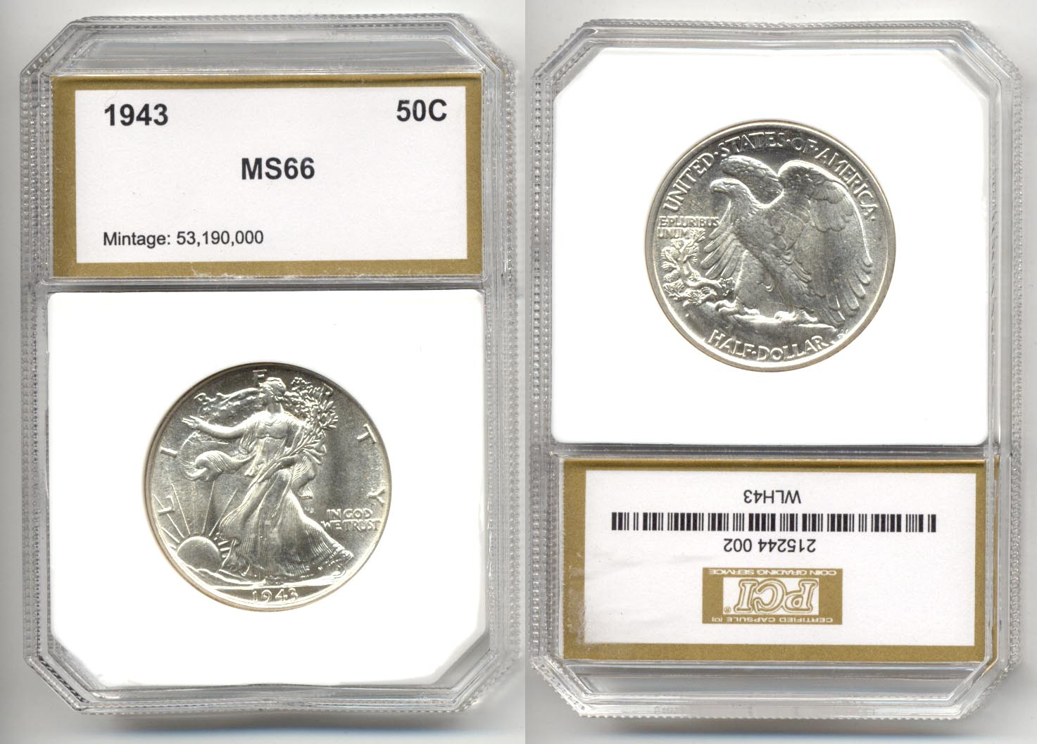 1943 Walking Liberty Half Dollar PCI MS-66