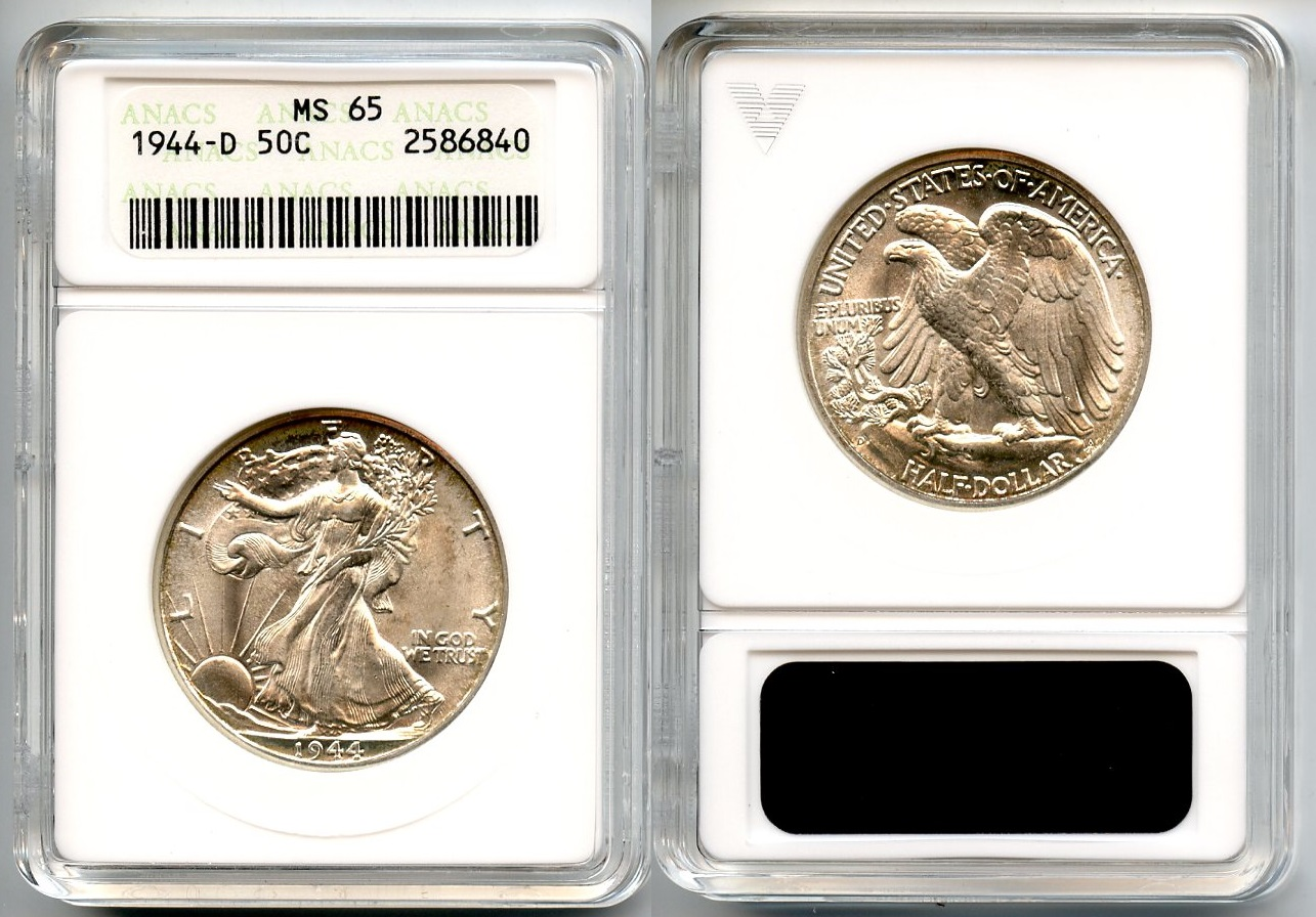 1944-D Walking Liberty Half Dollar ANACS MS-65