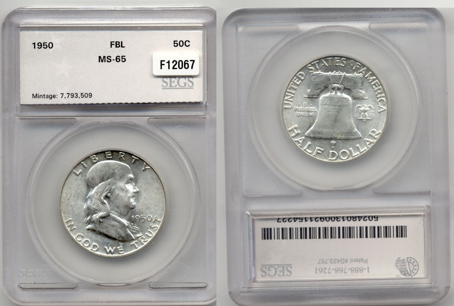 1950 Franklin Half Dollar SEGS MS-65 FBL