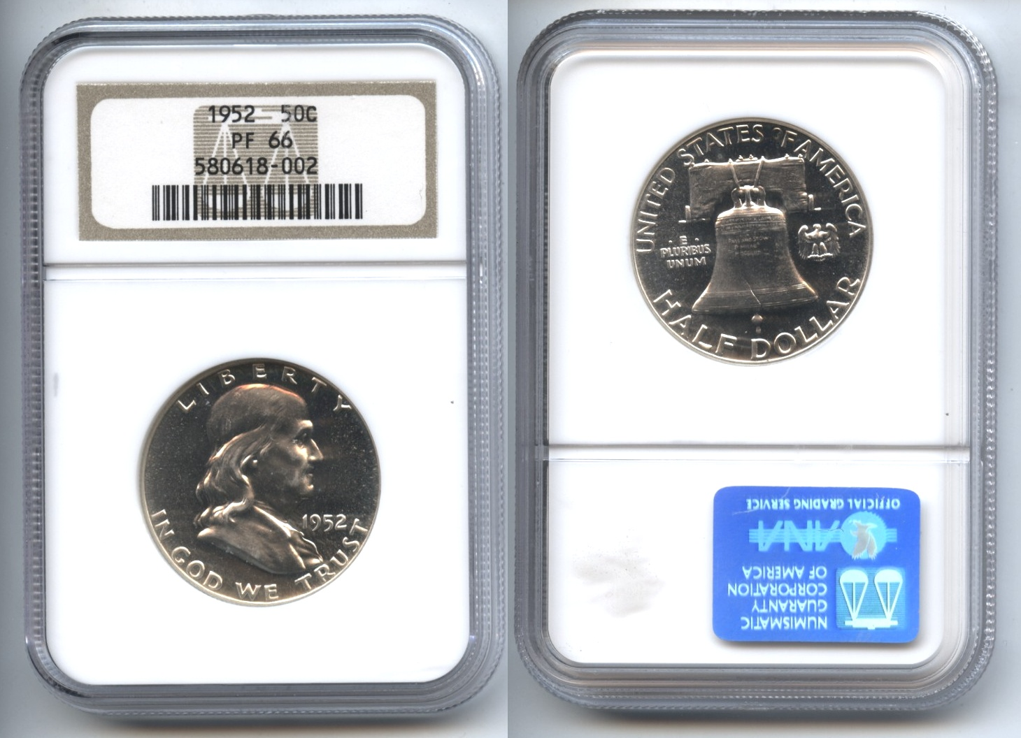 1952 Franklin Half Dollar NGC Proof-66