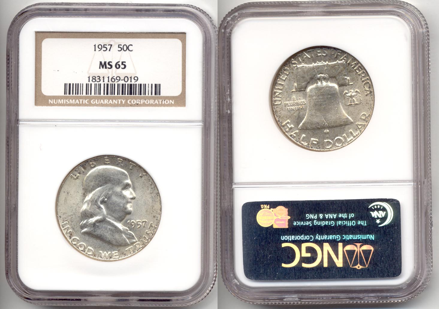1957 Franklin Half Dollar NGC MS-65