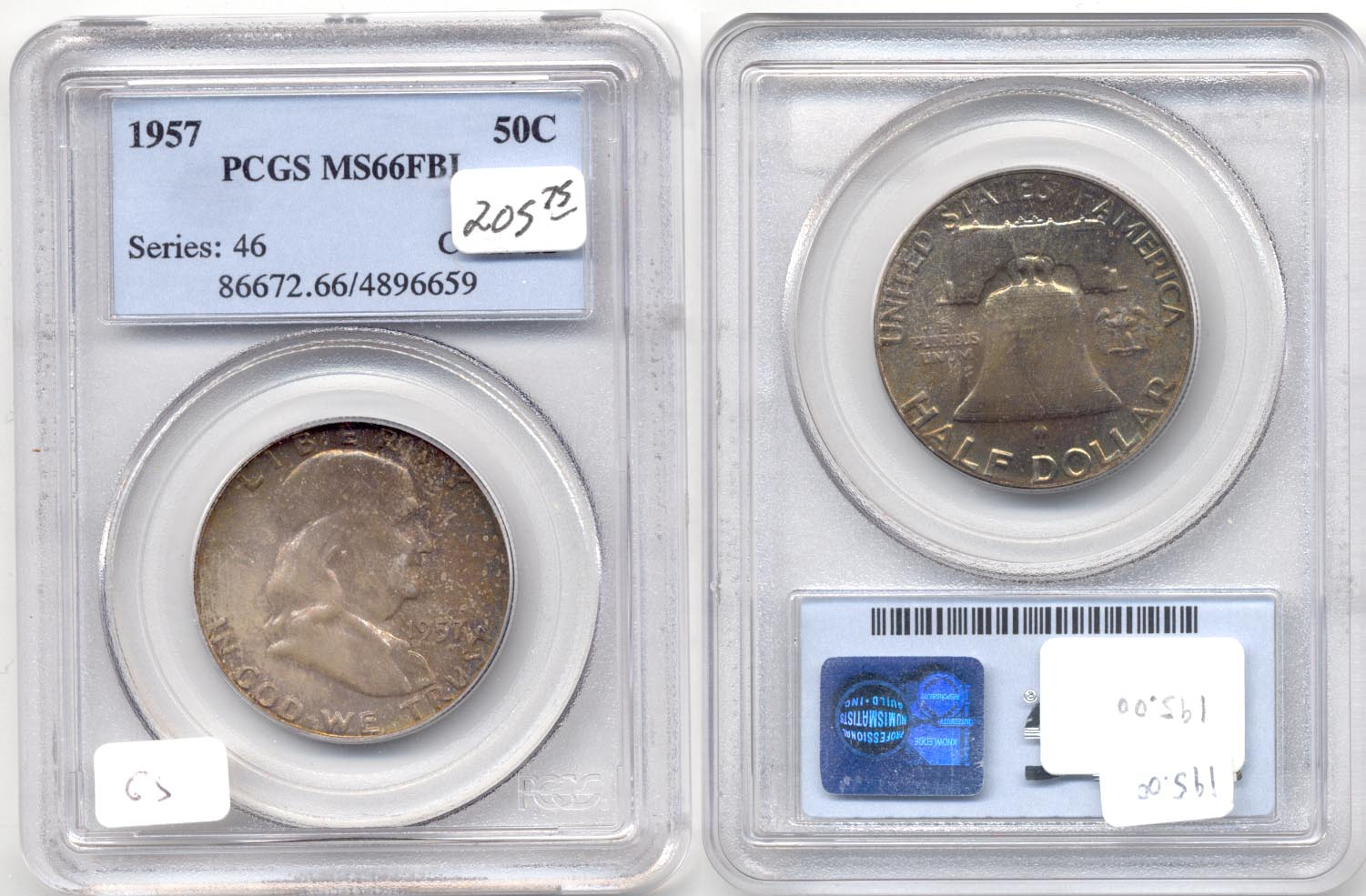 1957 Franklin Half Dollar PCGS MS-66 Full Bell Lines