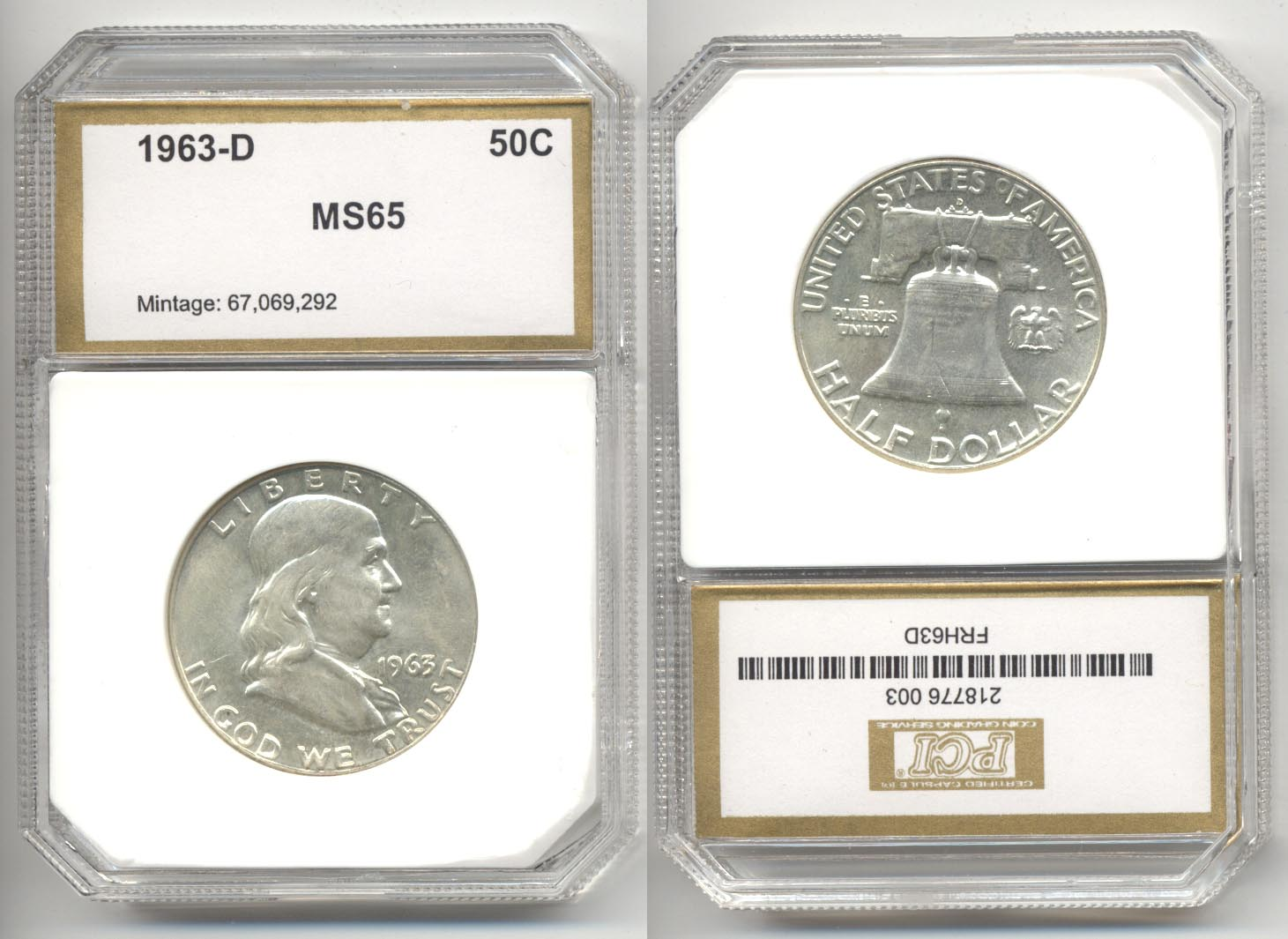 1963-D Franklin Half Dollar PCI MS-65 d