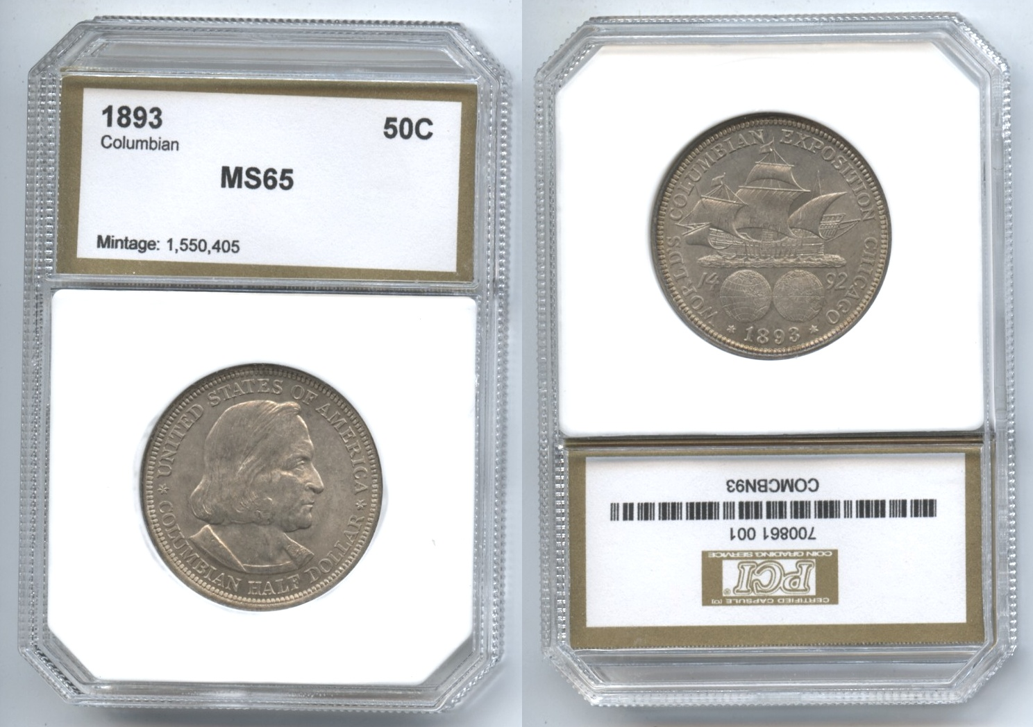 1893 Columbian Commemorative Half Dollar PCI MS-65