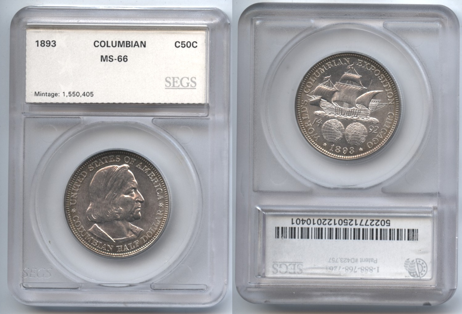 1893 Columbian Commemorative Half Dollar SEGS MS-66