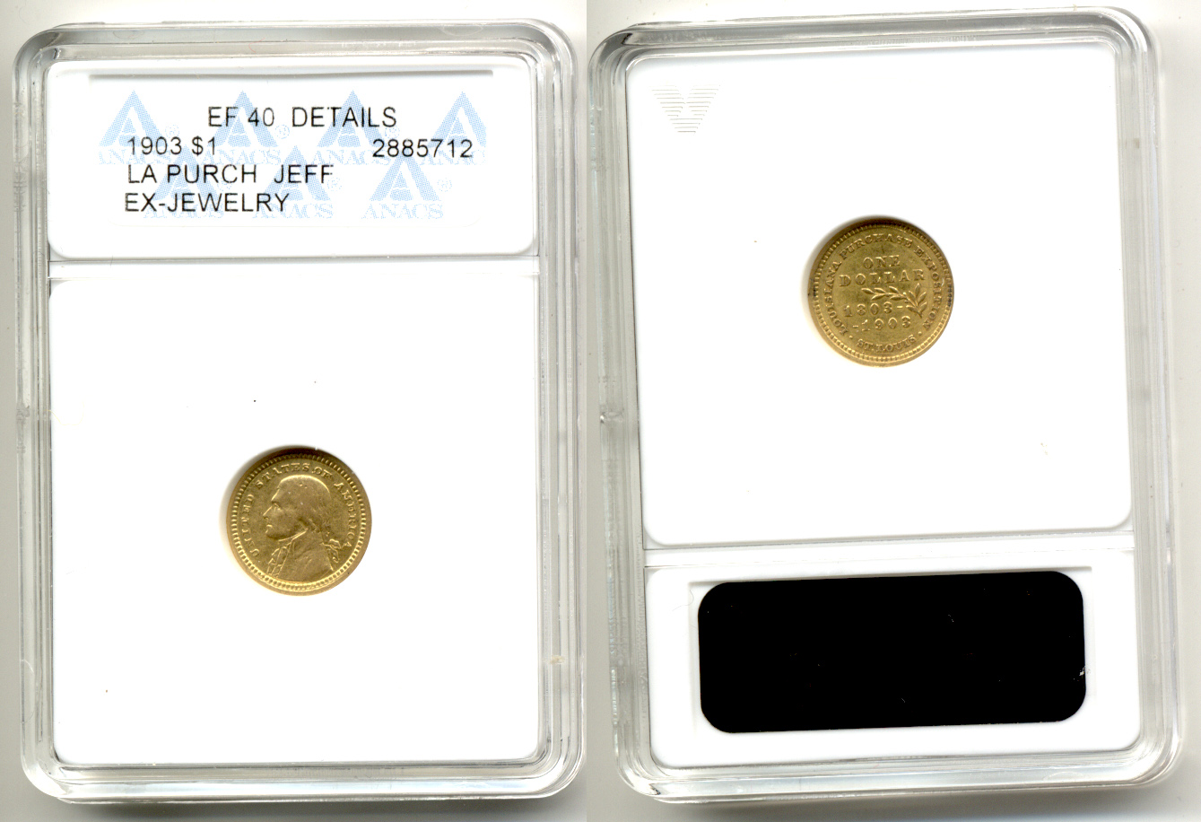 1903 Louisiana Purchase Jefferson Commemorative Gold Dollar ANACS EF-40 Details