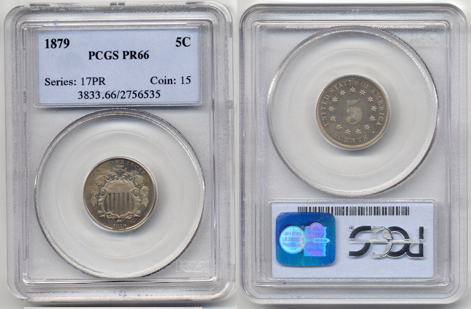1879 Shield Nickel in PCGS Proof-66 a