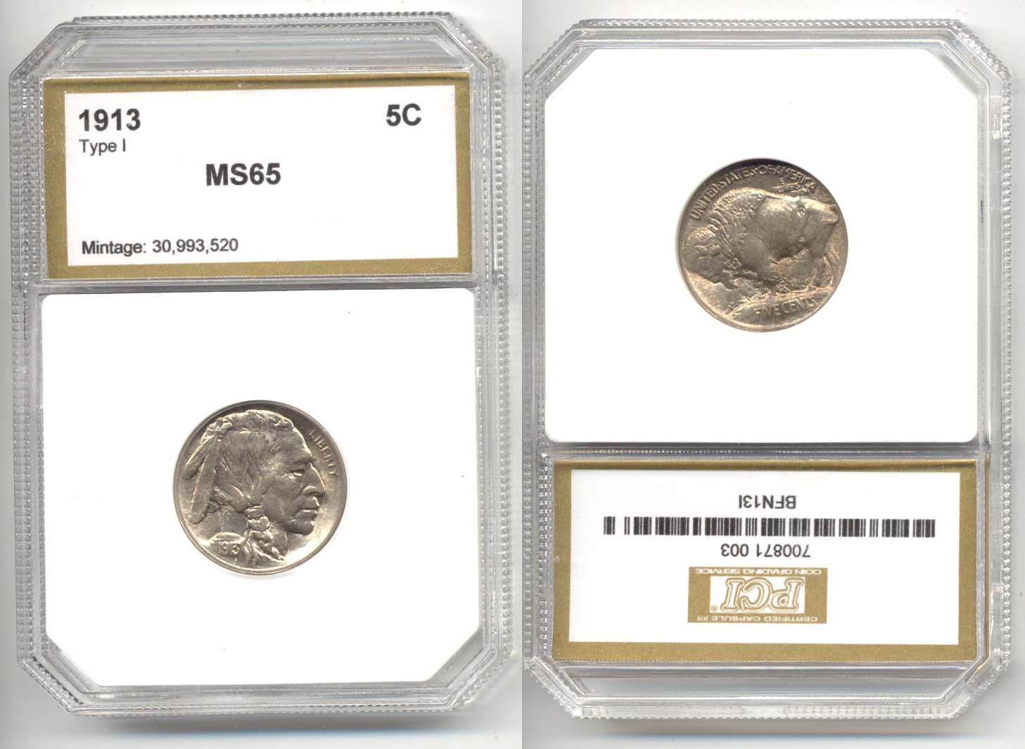 1913 Type 1 Buffalo Nickel PCI MS-65