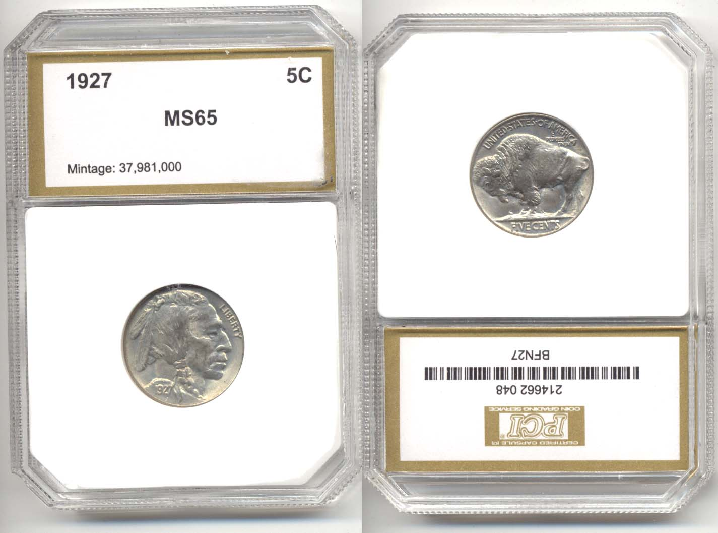 1927 Buffalo Nickel PCI MS-65
