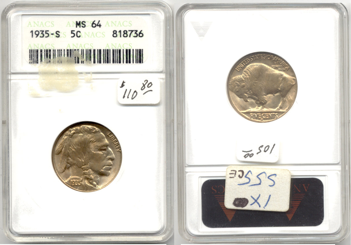 1935-S Buffalo Nickel ANACS MS-64