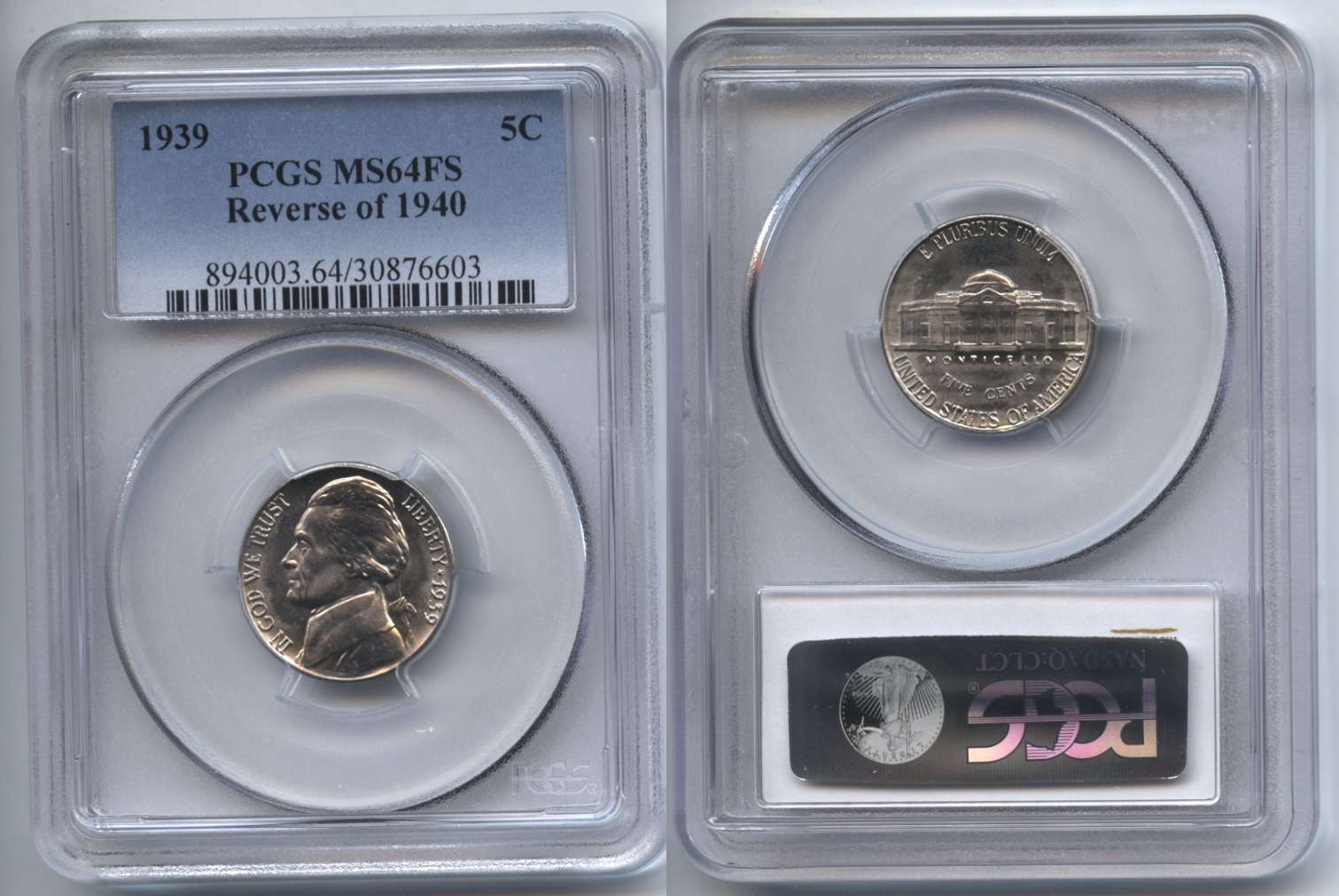1939 Jefferson Nickel PCGS MS-64 FS Reverse of 1940