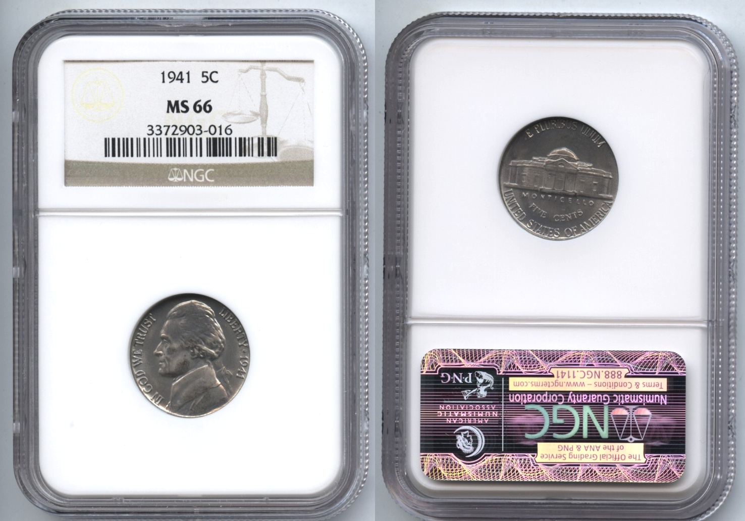1941 Jefferson Nickel NGC MS-66 #a