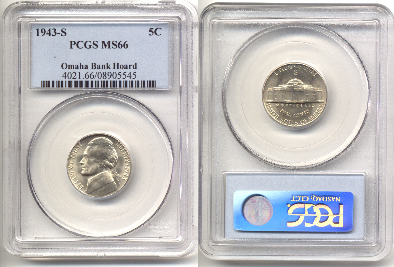 1943-S Jefferson Nickel PCGS MS-66 b