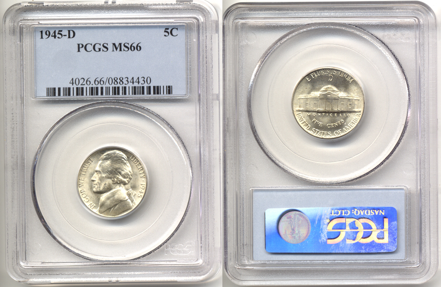 1945-D Jefferson Nickel PCGS MS-66 b