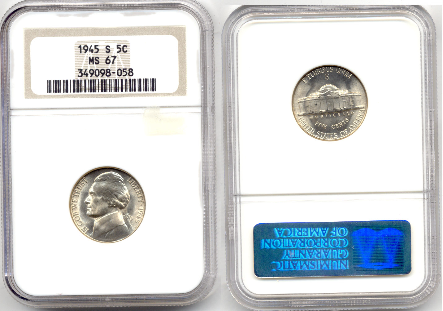 1945-S Jefferson Nickel NGC MS-67 a