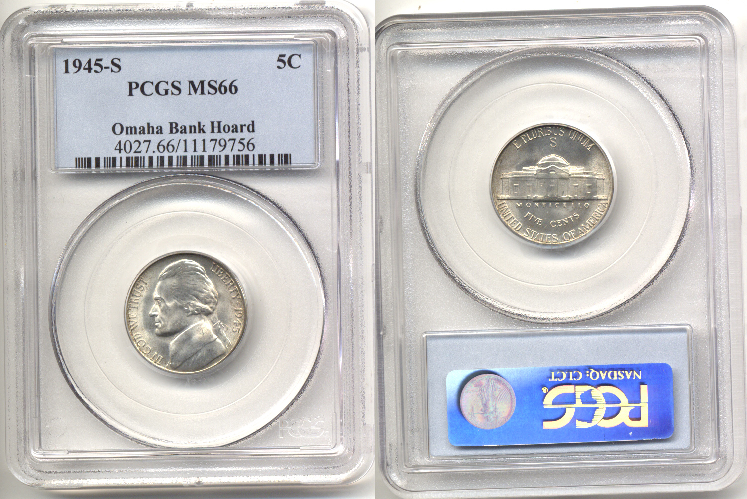 1945-S Jefferson Nickel PCGS MS-66 a