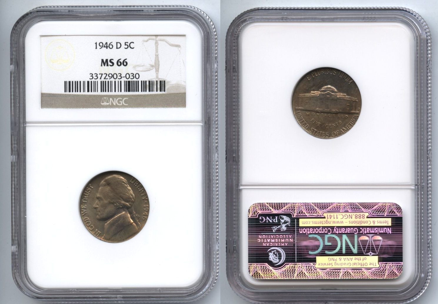 1946-D Jefferson Nickel NGC MS-66