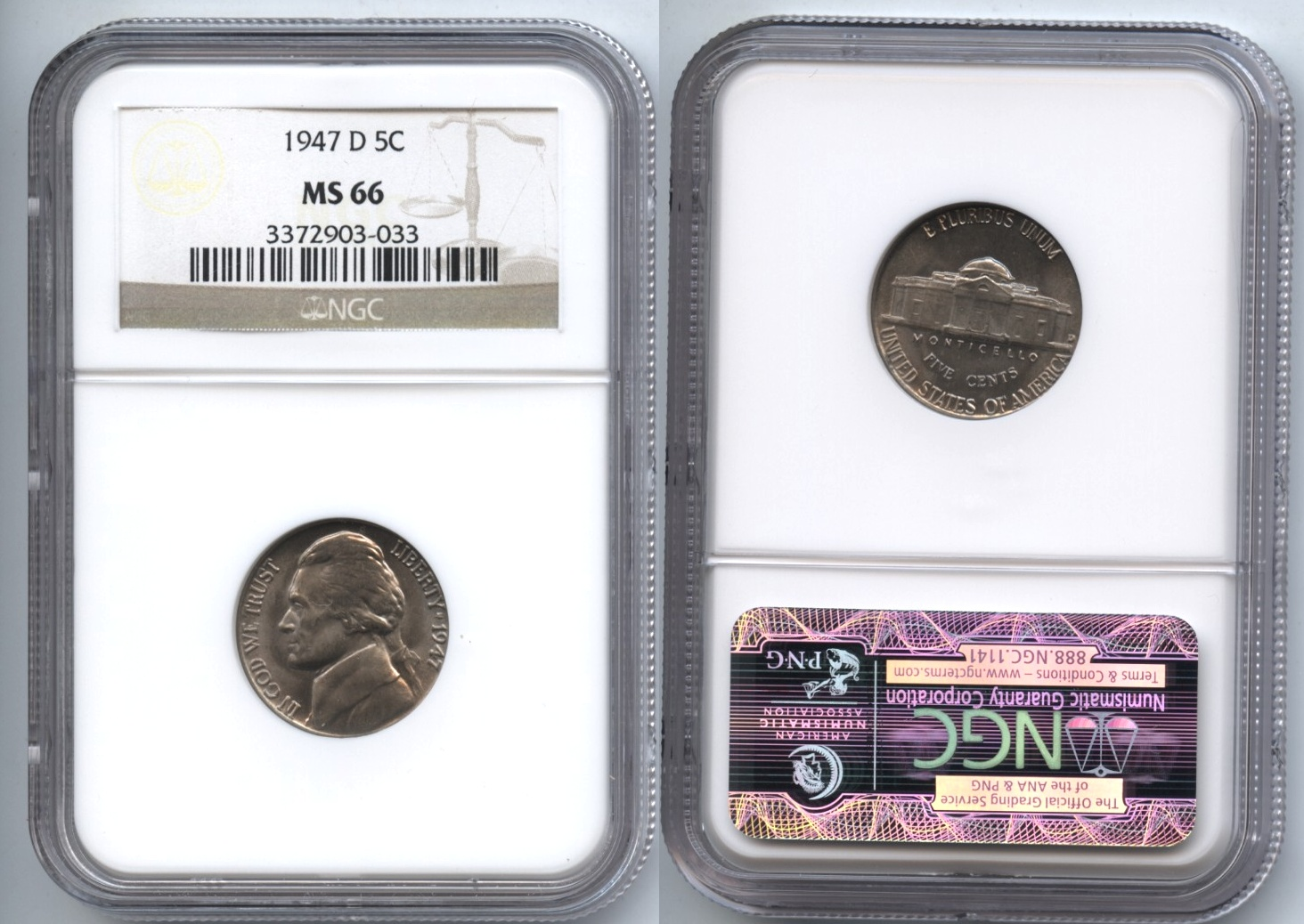 1947-D Jefferson Nickel NGC MS-66 #a