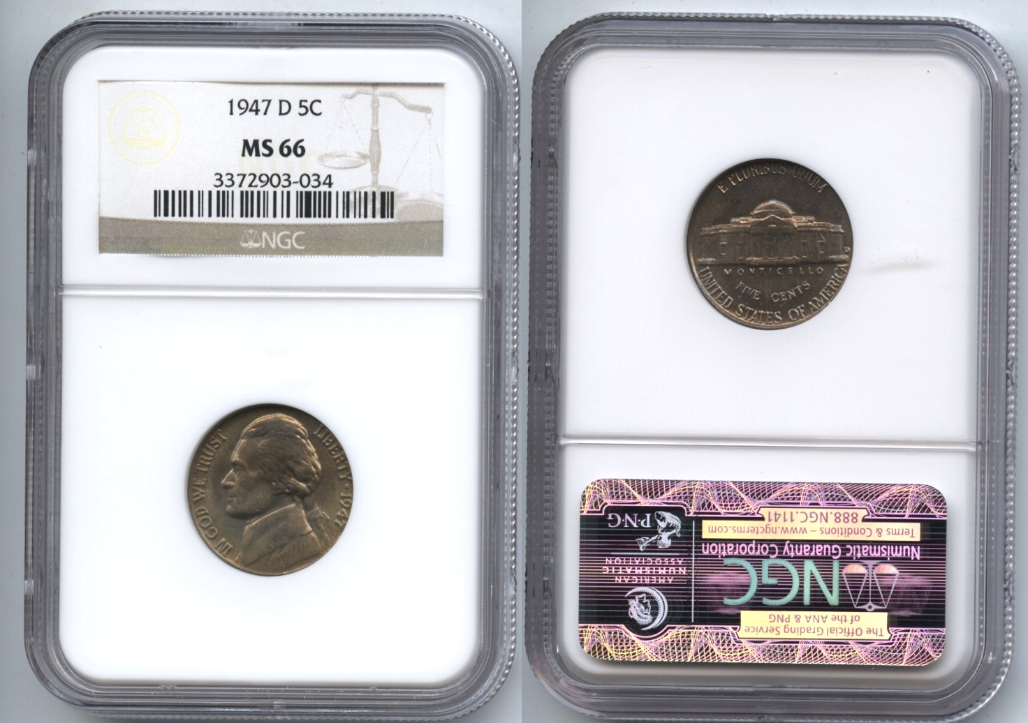 1947-D Jefferson Nickel NGC MS-66 #b
