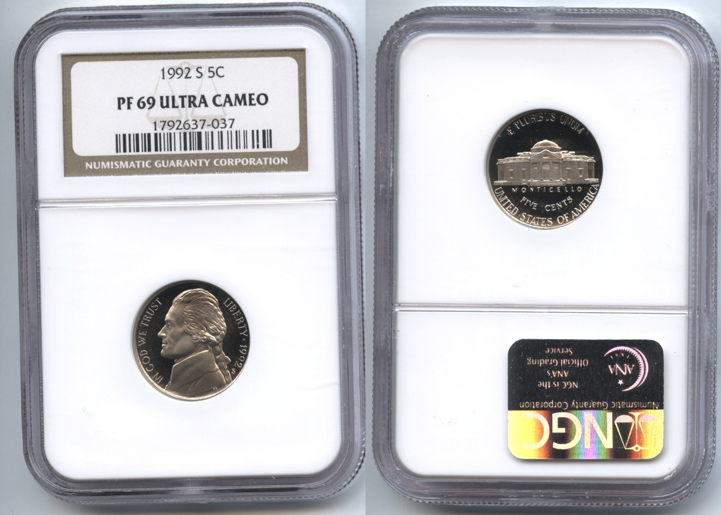 1992-S Jefferson Nickel NGC Proof-69 Ultra Cameo
