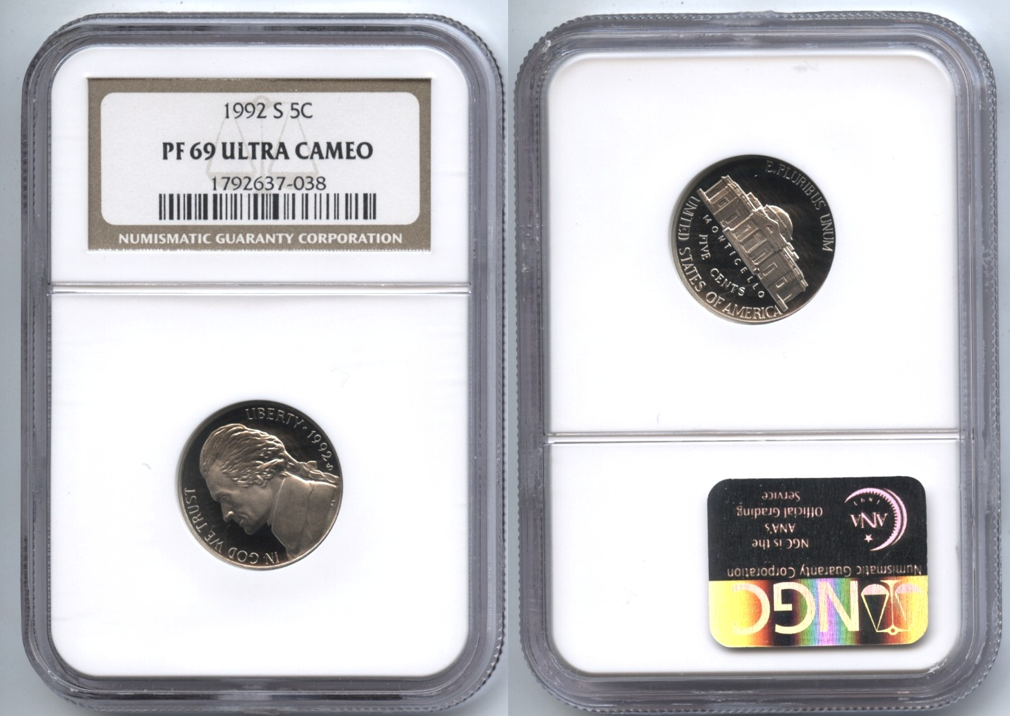 1992-S Jefferson Nickel NGC Proof-69 Ultra Cameo #a