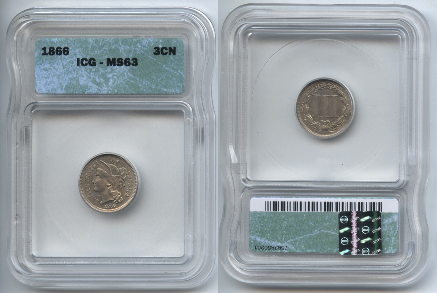 1866 Three Cent Nickel ICG MS-63