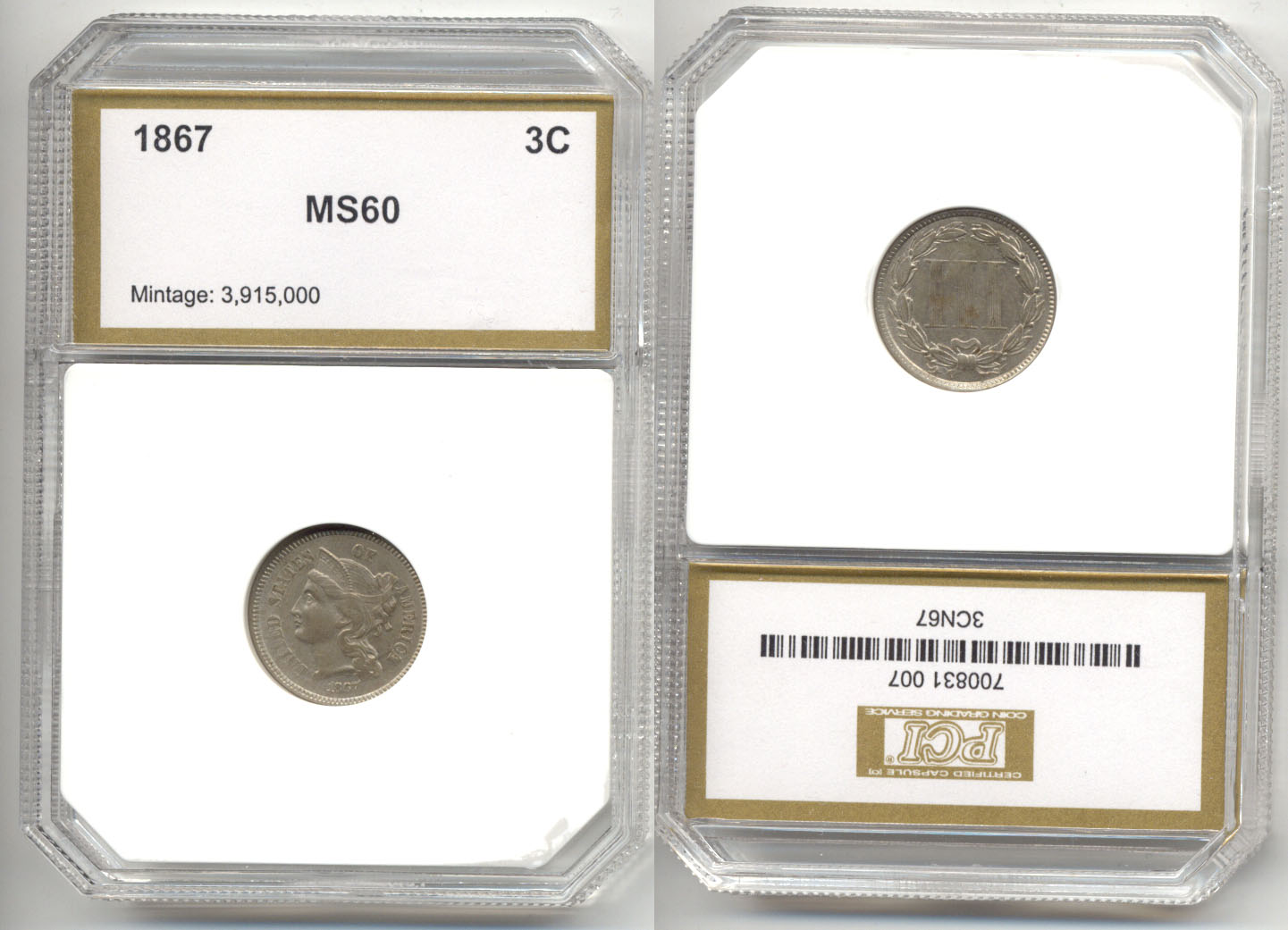 1867 Three Cents Nickel in PCI MS-60