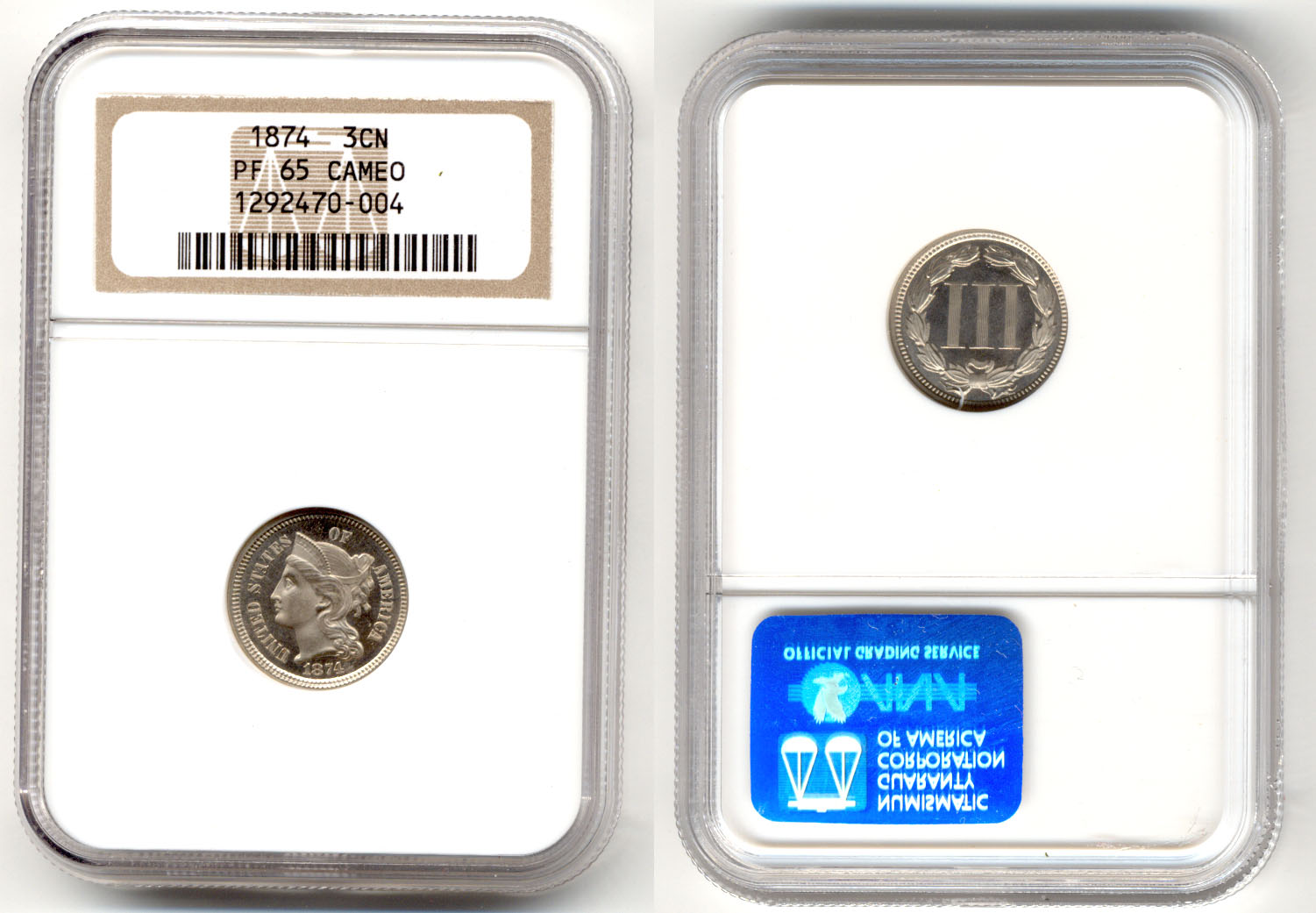 1874 Three Cent Nickel in NGC Cameo Proof-65