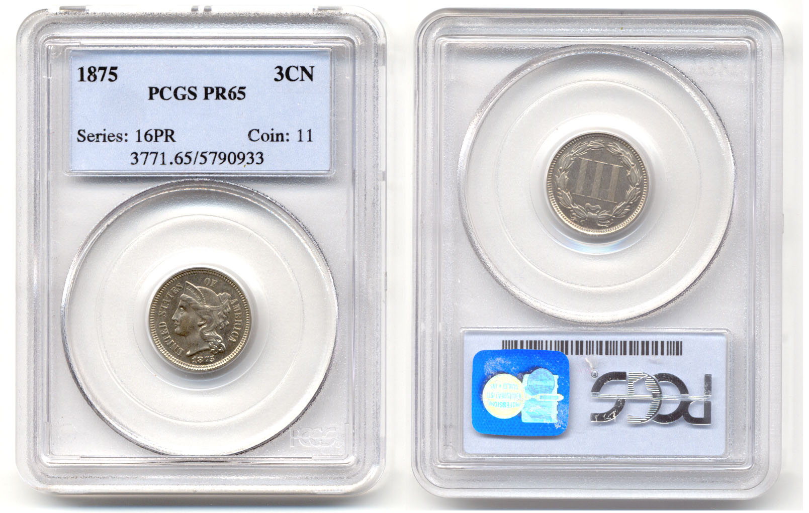 1875 Three Cent Nickel In PCGS Proof-65