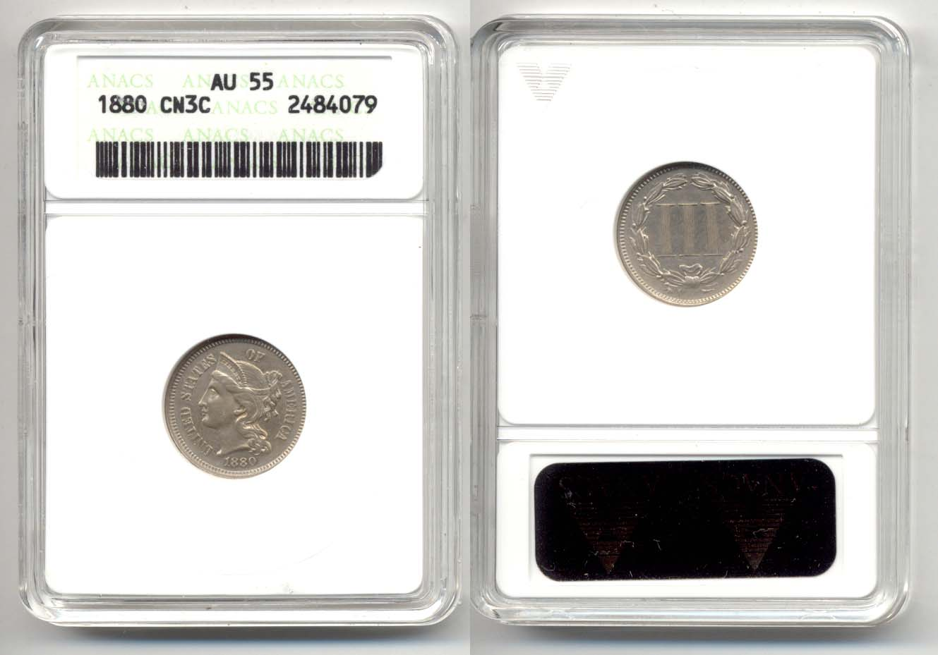 1880 Three Cent Nickel in ANACS AU-55