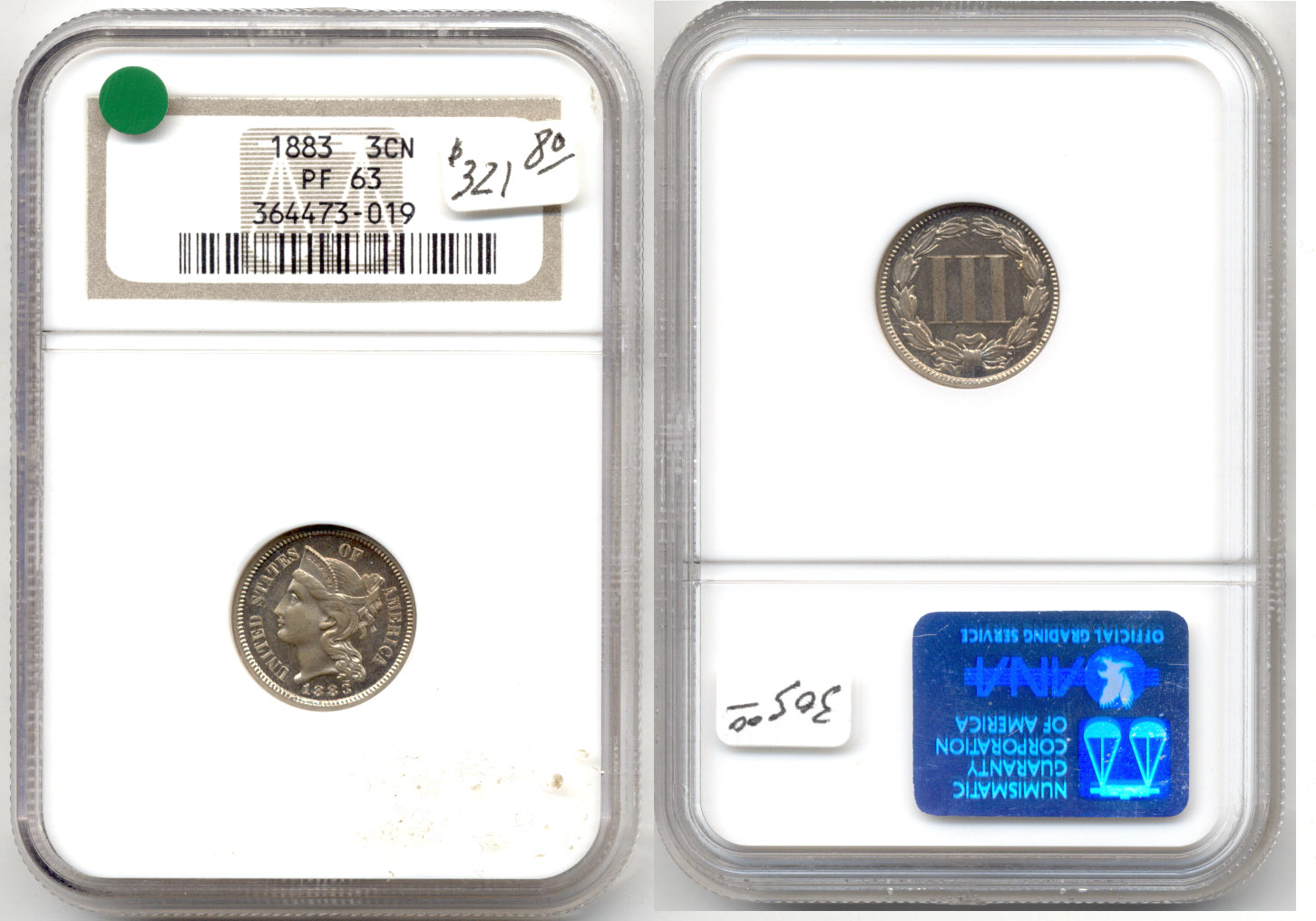 1883 Three Cent Nickel NGC Proof-63