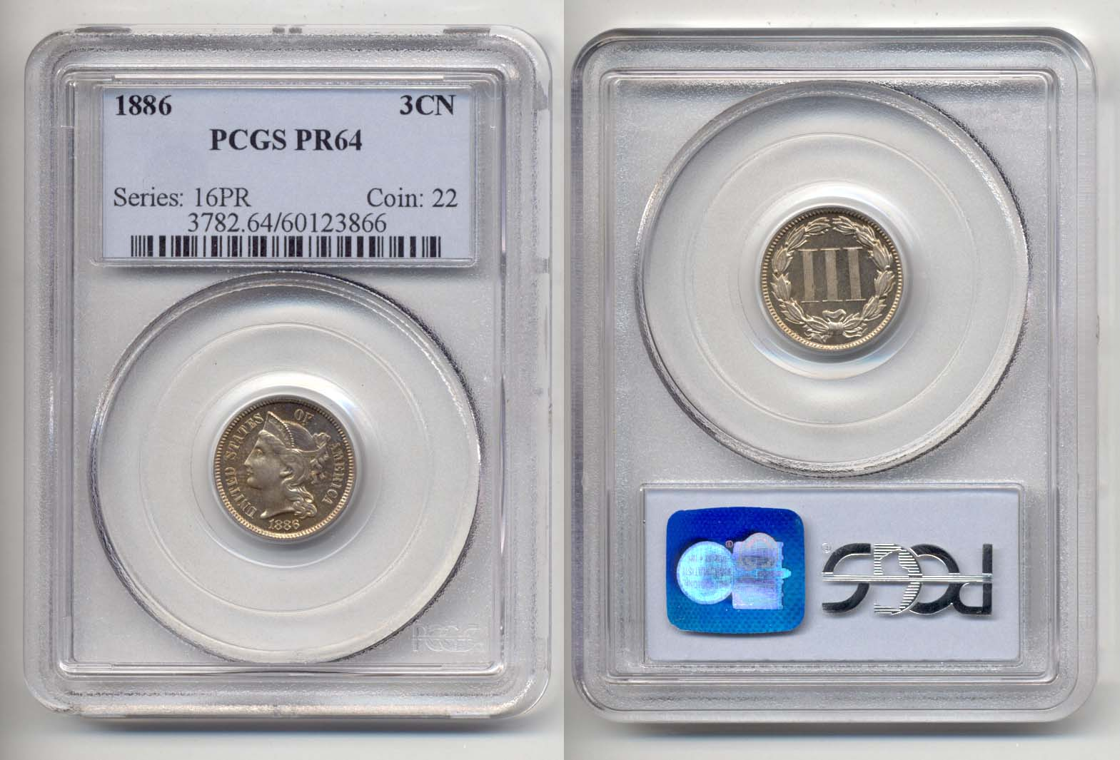 1886 Three Cent Nickel in PCGS Proof-64