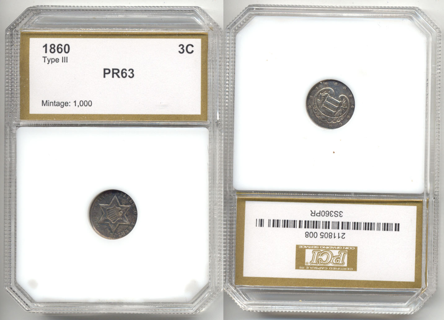1860 Three Cents Silver PCI Proof-63
