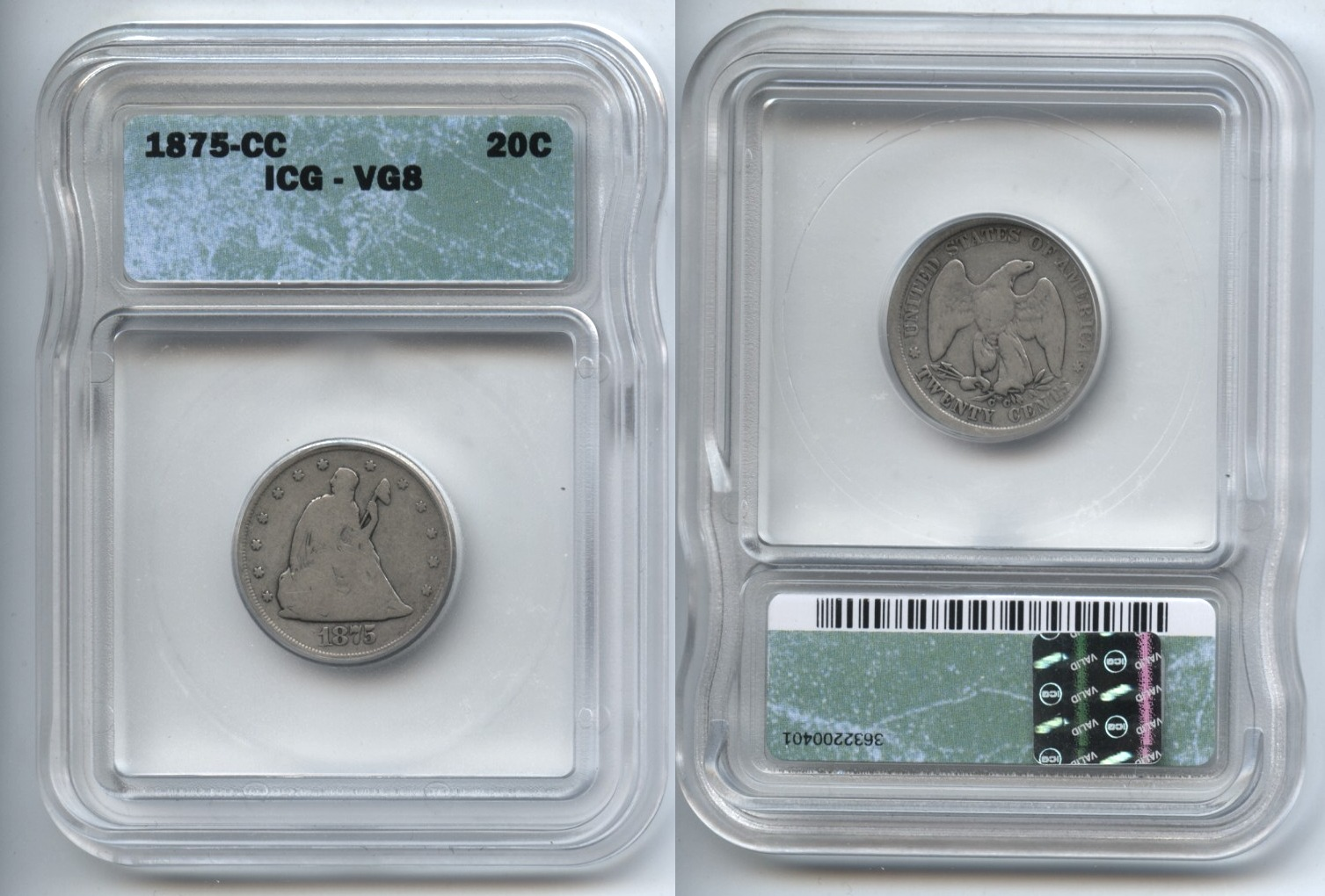 1875-CC Twenty Cent Piece ICG VG-8