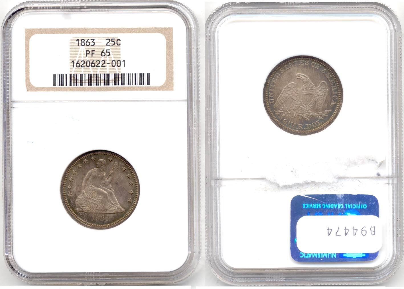 1863 Seated Liberty Quarter NGC Proof-65