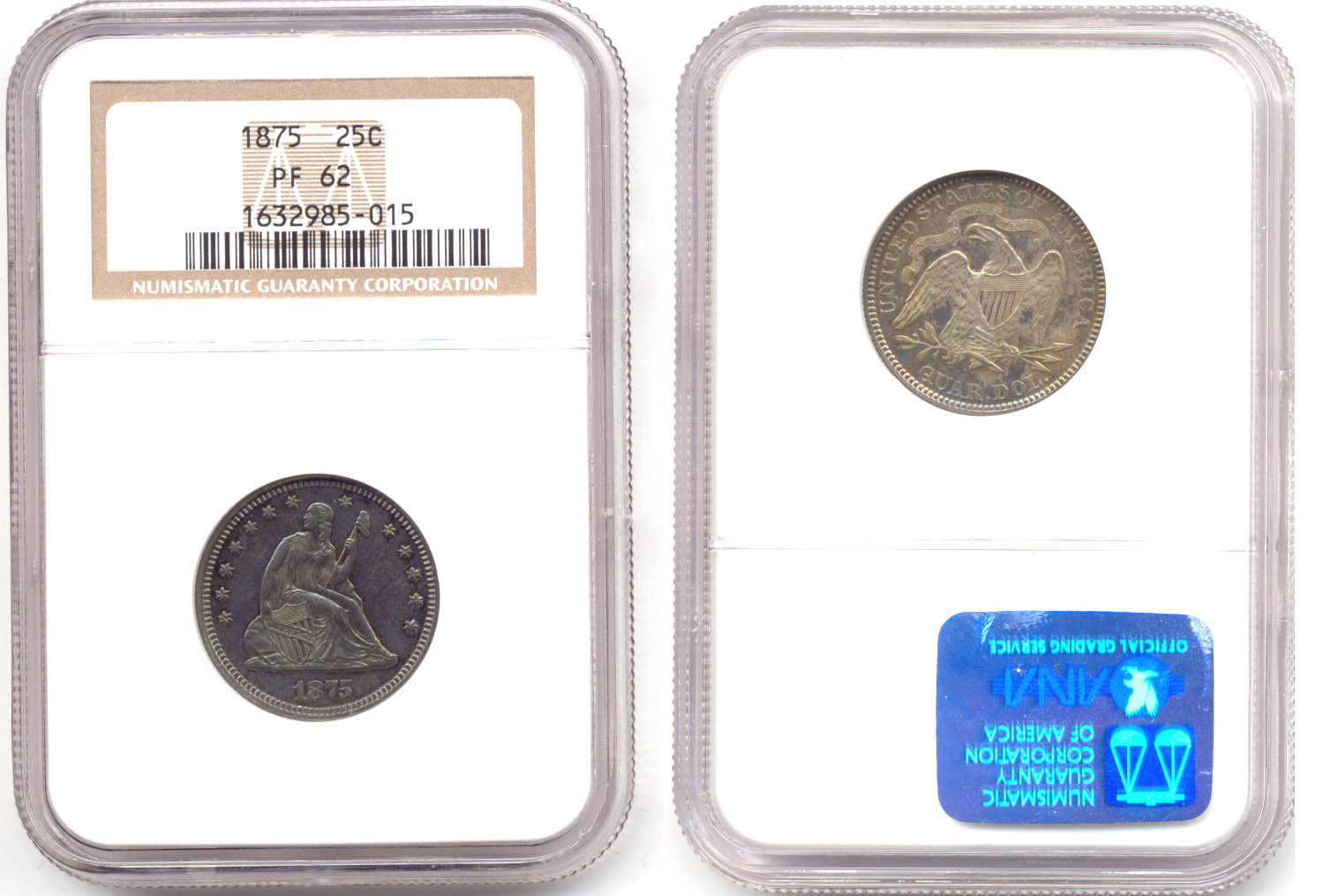 1875 Seated Liberty Quarter NGC Proof-62