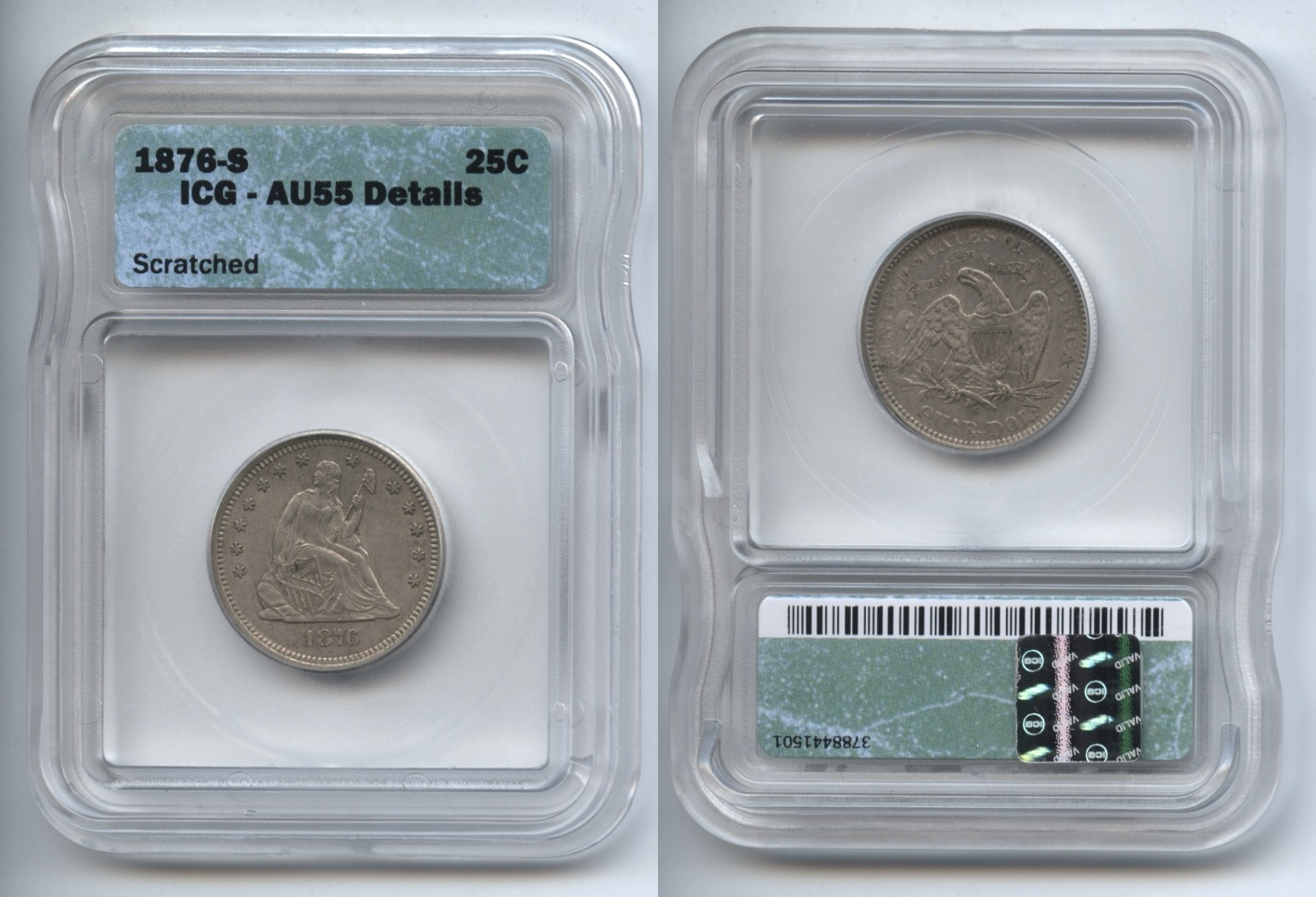 1876-S Seated Liberty Quarter ICG AU-55 Details