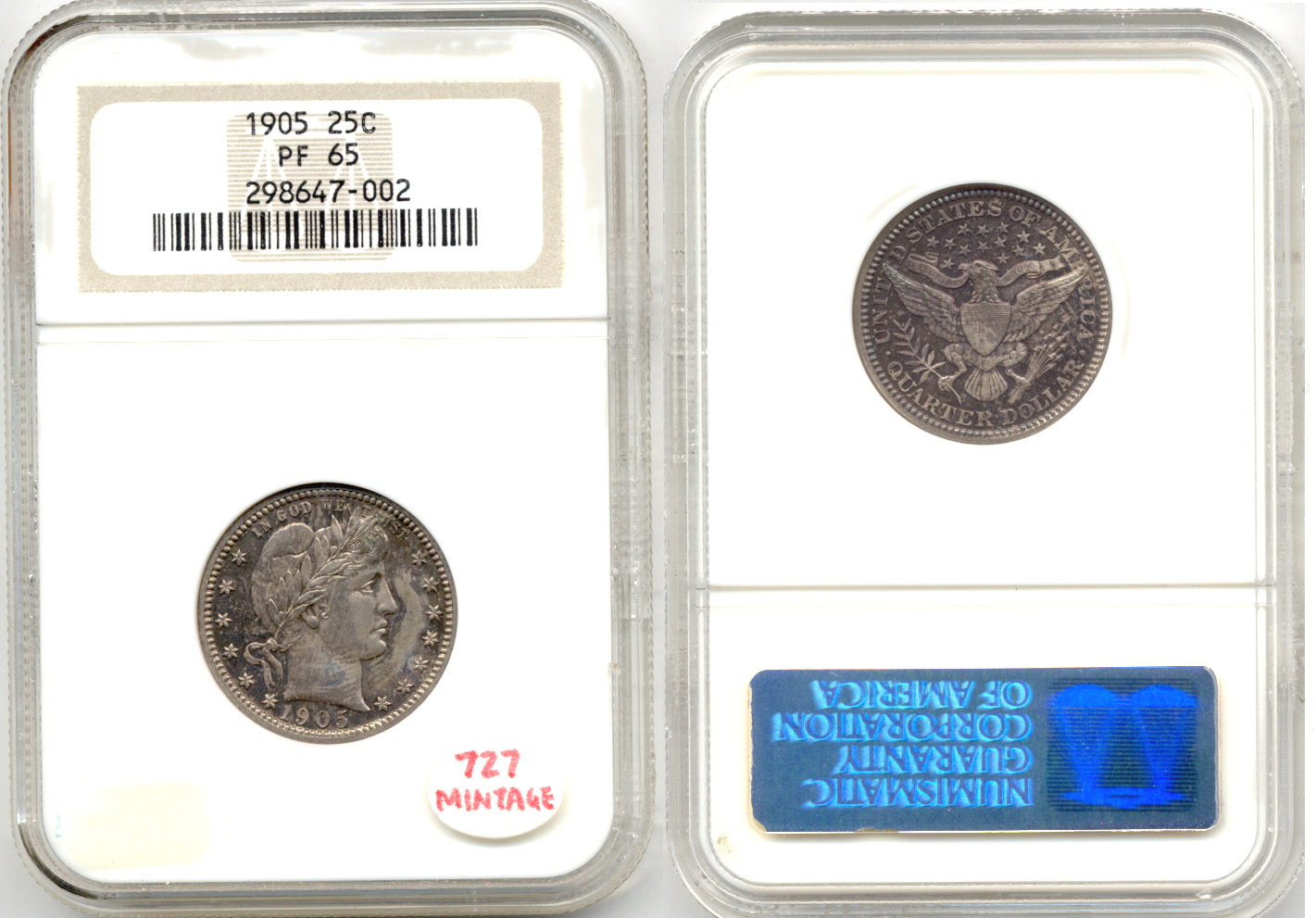1905 Barber Quarter NGC Proof-65