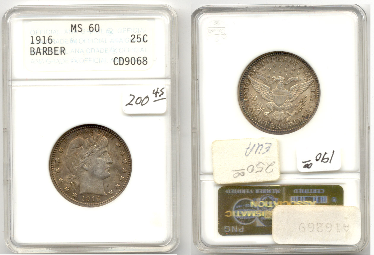 1916 Barber Quarter ANACS MS-60