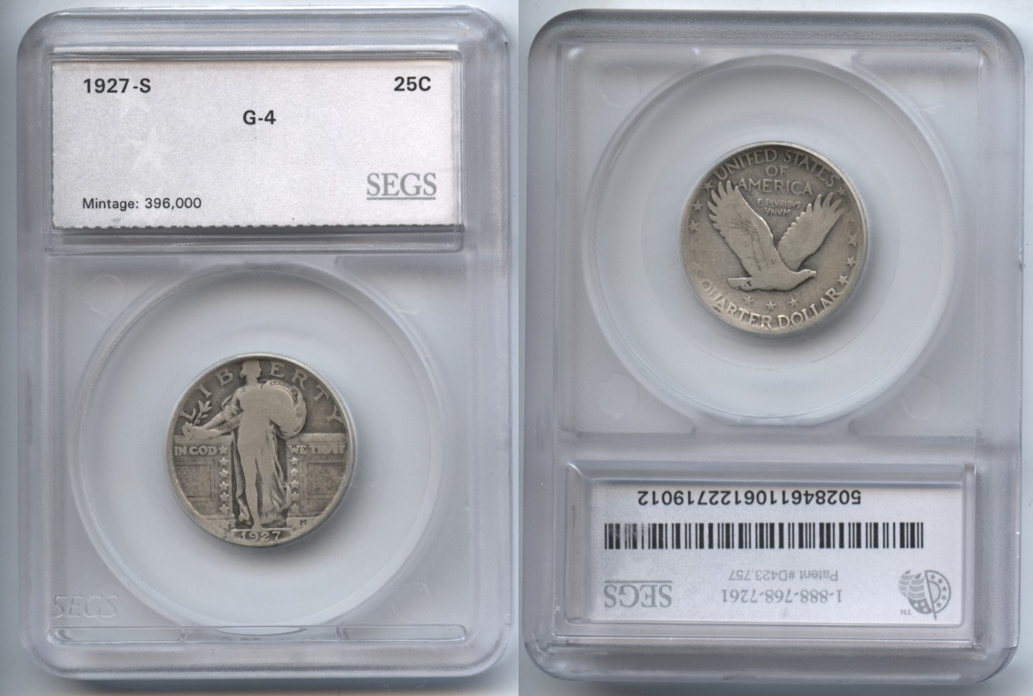 1927-S Standing Liberty Quarter SEGS Good-4