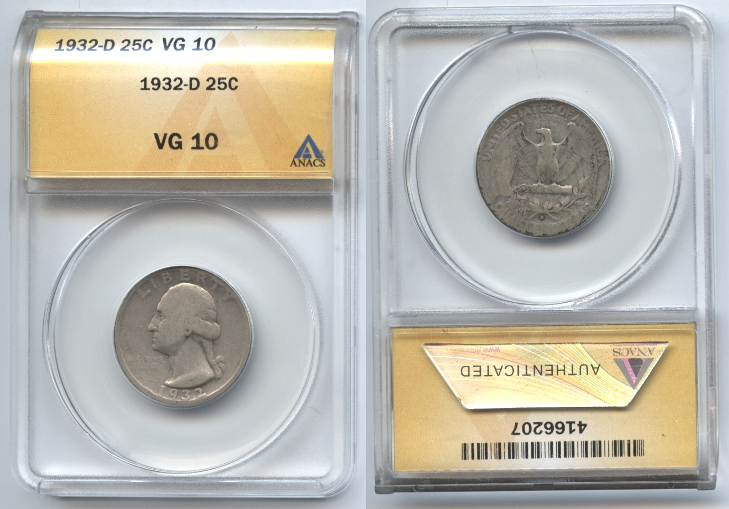 1932-D Washington Quarter ANACS VG-10