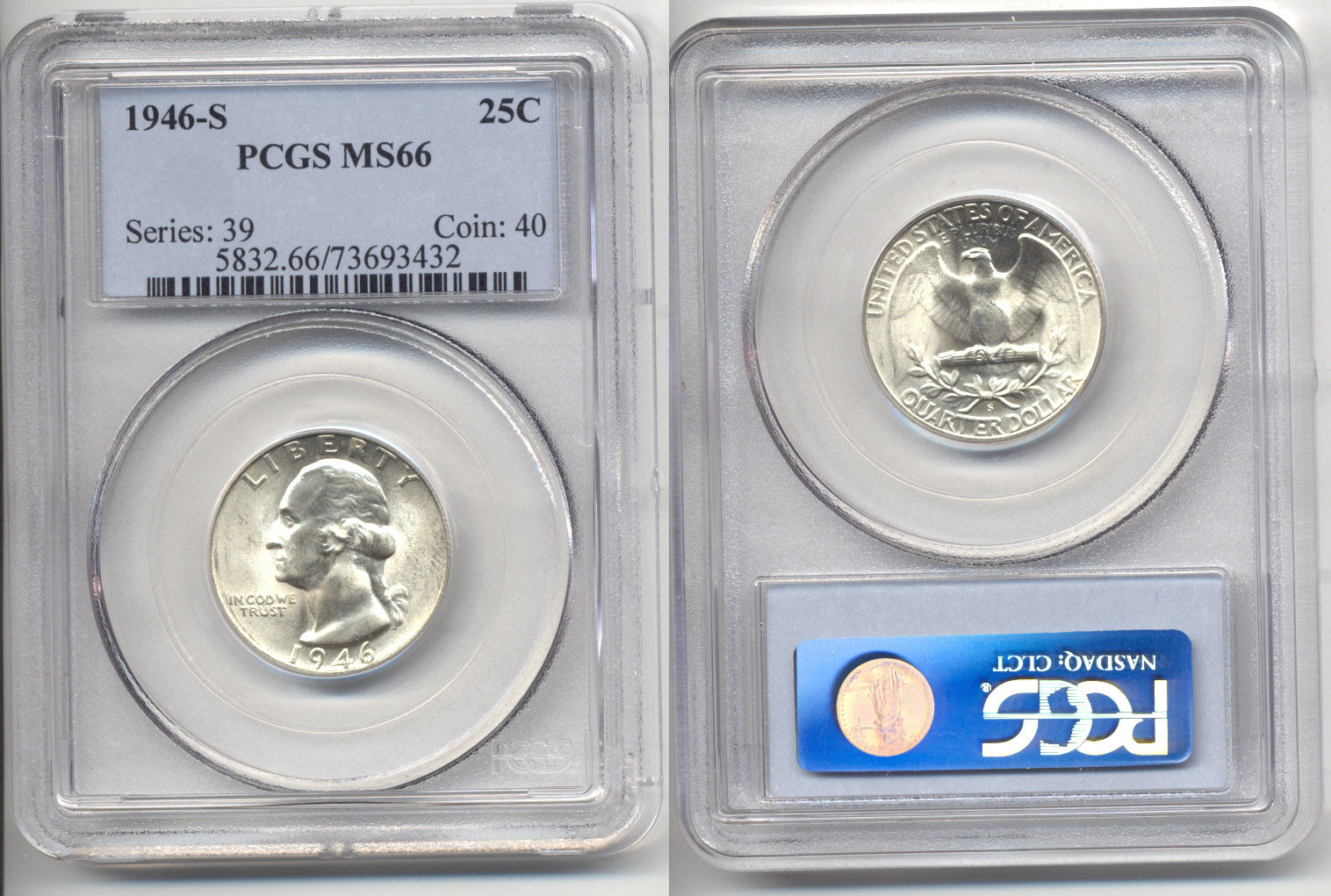 1946-S Washington Quarter PCGS MS-66 f