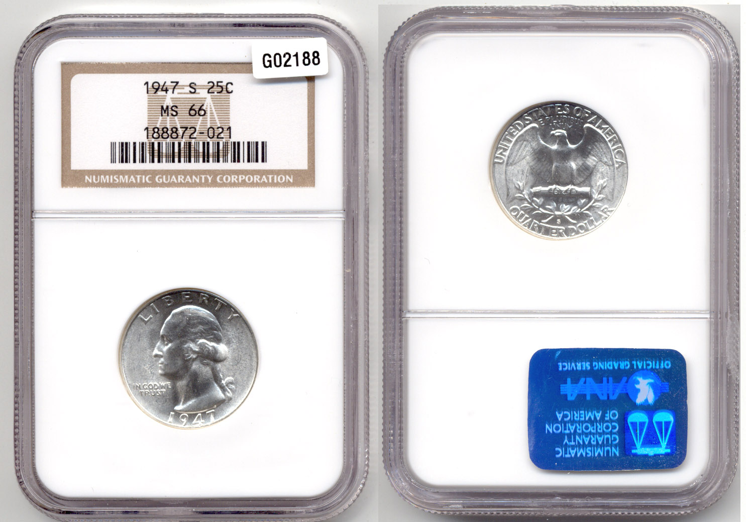 1947-S Washington Quarter NGC MS-66