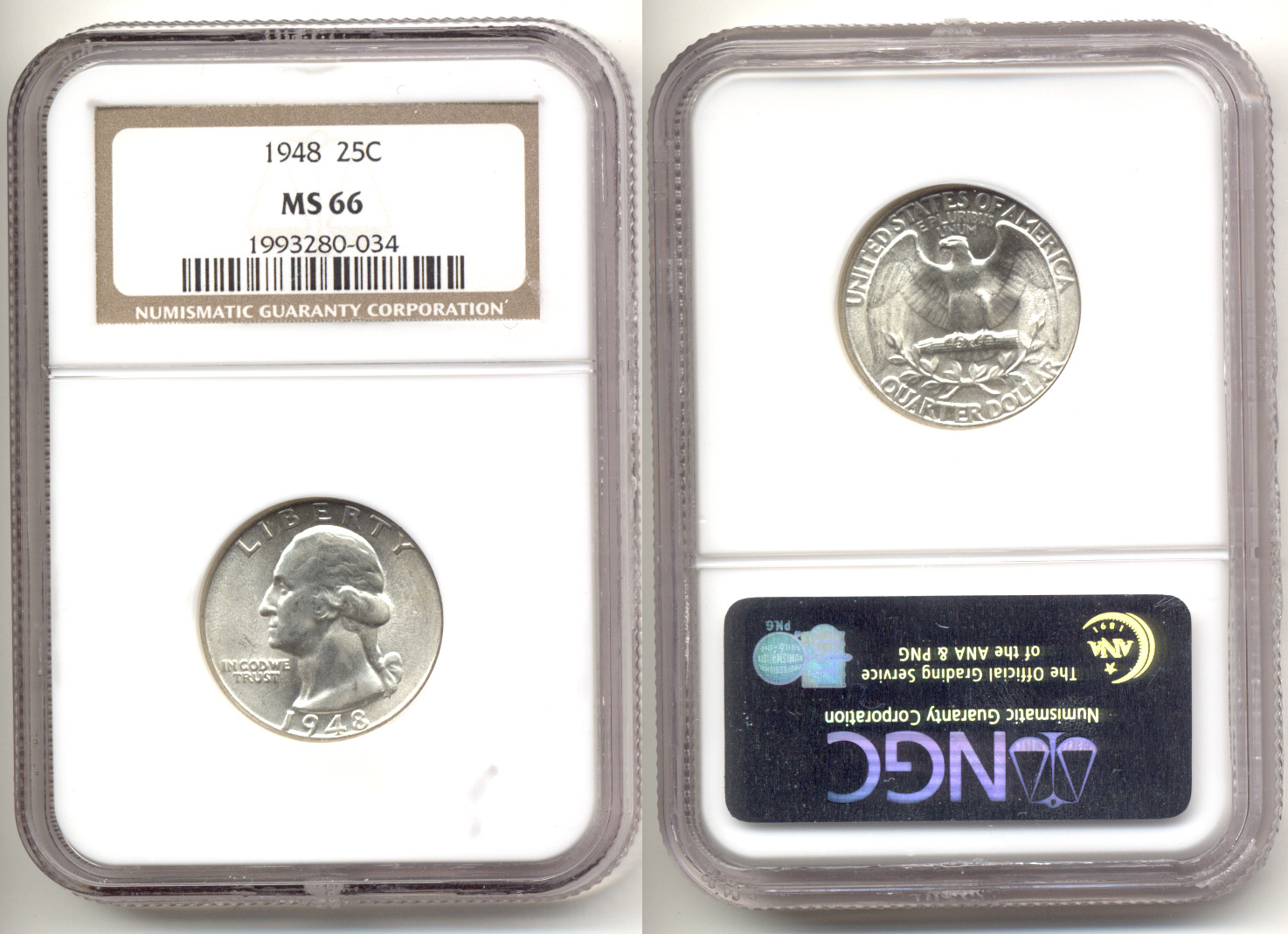 1948 Washington Quarter NGC MS-66 a