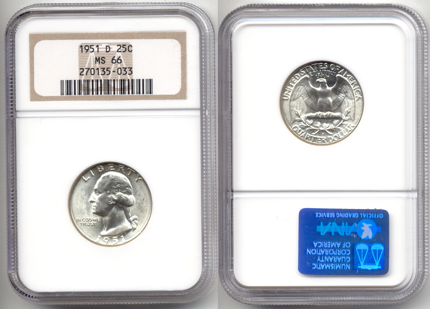 1951-D Washington Quarter NGC MS-66 a